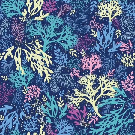 Onderwater zeewier naadloze patroon achtergrond Stock Illustratie