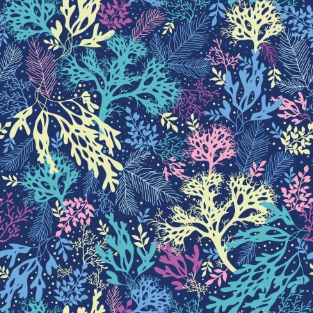 seetang: Unterwasser Algen nahtlose Muster Hintergrund Illustration