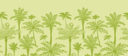 Green palm trees horizontal seamless pattern background border Vector