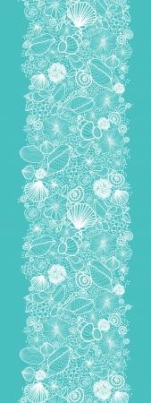 caracolas de mar: Azul conchas línea arte borde vertical seamless pattern