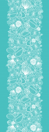 Blue seashells line art vertical seamless pattern border