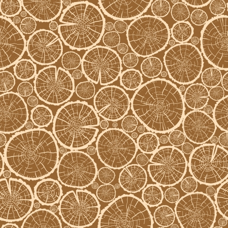Wood logs cuts seamless pattern background Illustration