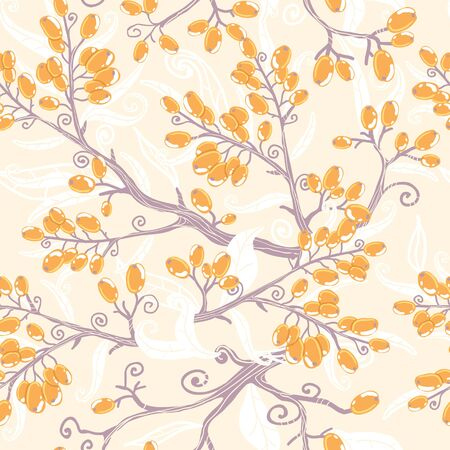 Orange buckthorn berries seamless pattern background Vector