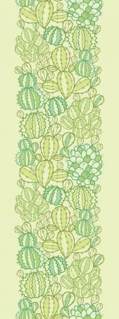 선인장 식물 텍스처 수직 원활한 패턴 테두리 일러스트