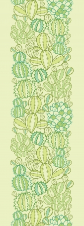 Cactus plants texture vertical seamless pattern border