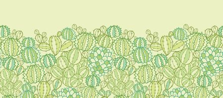 Cactus plants texture horizontal seamless pattern border Vector