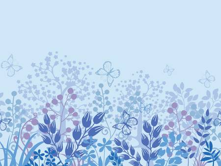 Misty plants horizontal seamless pattern border background Vector