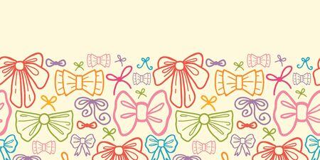 horizontal: Colorful bows horizontal seamless pattern background border