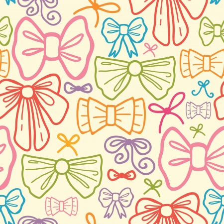 Colorful bows seamless pattern background Vector