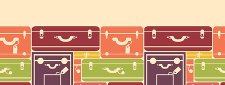 Colorful luggage horizontal seamless pattern background border Vector