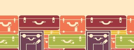 Colorful luggage horizontal seamless pattern background border