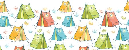 Camp tents horizontal seamless pattern background border Vector