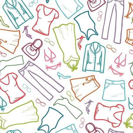 Wardrobe clothing seamless pattern background Illustration