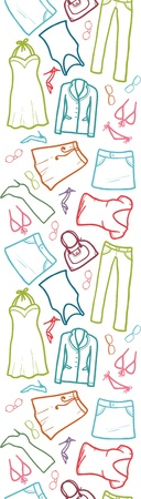 Wardrobe clothing vertical seamless pattern border
