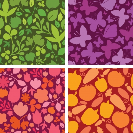 Set of four plants and butterflies seamless patterns backgrounds