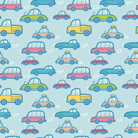 background pattern: Colorful cartoon cars seamless pattern background Illustration