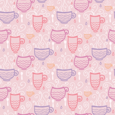 Pink tea cups seamless pattern background Vector