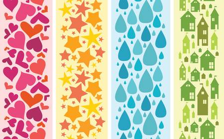 Set of four colorful horizontal seamless patterns borders Vector
