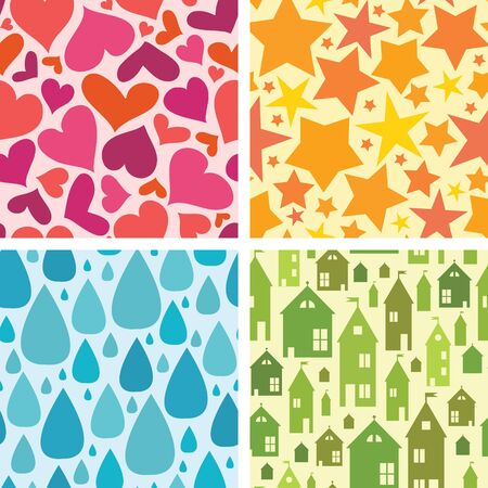 Set of four colorful seamless patterns background Vector