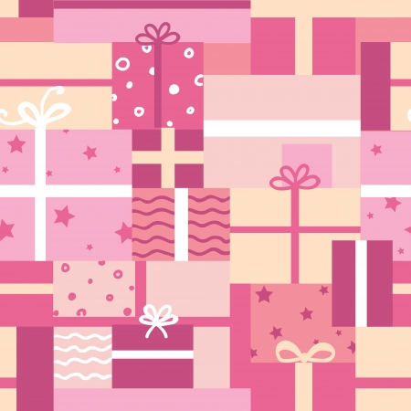 wrapping paper: Gift boxes seamless pattern background Illustration
