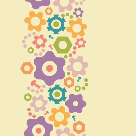 Gogwheals and gears vertical seamless pattern background border
