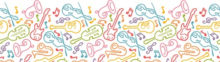 Musical instruments horizontal seamless pattern border Vector