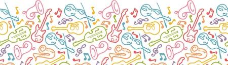 Muziekinstrumenten horizontale naadloze patroon grens Stock Illustratie