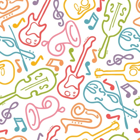 rhythmical: Musical instruments seamless pattern background