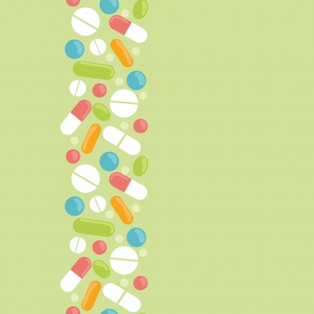 drugs pills: Pills vertical seamless pattern background border Illustration