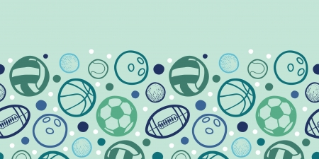 Sports balls horizontal seamless pattern background border Vector