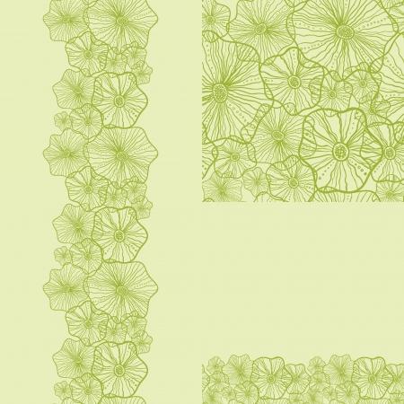 Set van groene onderwater planten naadloze patroon en grenzen achtergronden