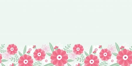 horizontal: Peony flowers and leaves horizontal seamless pattern border