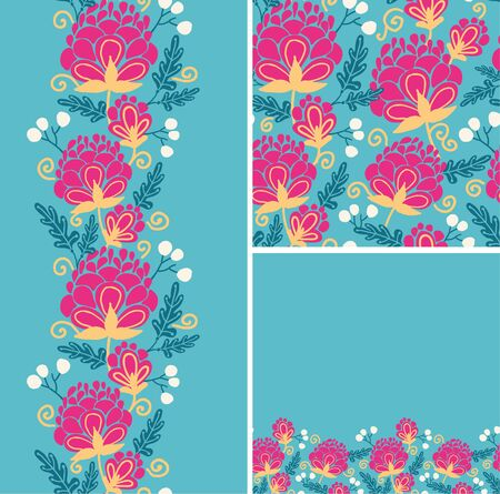 Set of colorful flowers seamless pattern and borders backgrounds Illustration