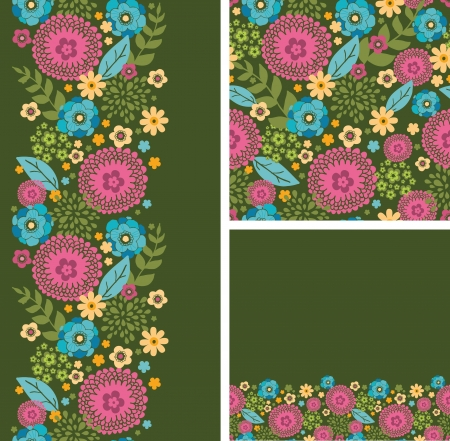 Set of vibrant summer plants seamless pattern and borders Stock Vector - 16759368