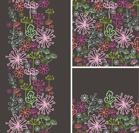 Set of fall plants seamless pattern and borders backgrounds Stock Vector - 16759367