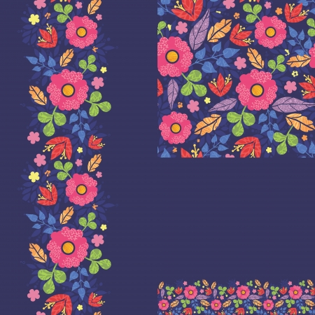 Set of summer night plants seamless pattern and borders  Vector