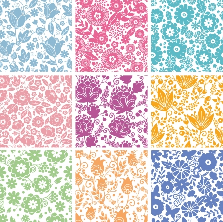Set Of Nine Abstract Flowers Seamless Patterns Backgrounds Stock Vector - 16759372