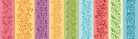 Set Of Nine Colorful Flowers Vertical Seamless Patterns Borders Vector