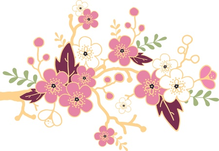 Sakura blossoming branch design element Illustration