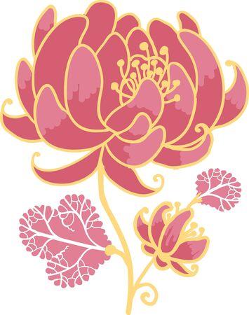 Golden and pink flower design element Illustration