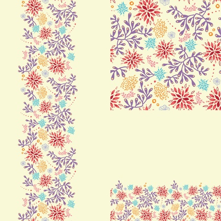 Set of colorful plants seamless pattern and borders backgrounds Vector