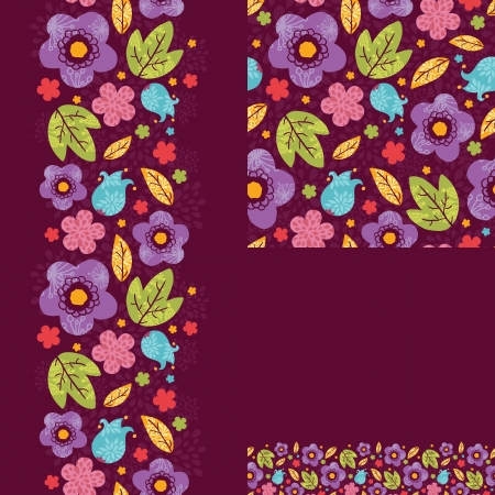 Set of spring night plants seamless pattern and borders Vector