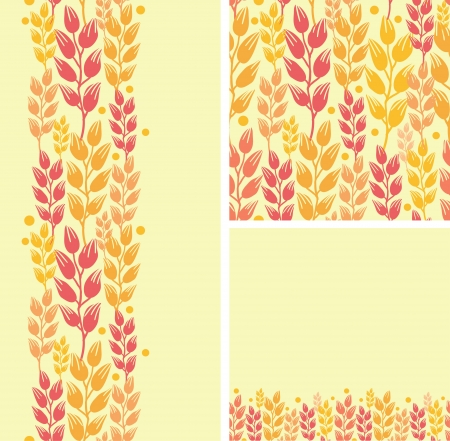 Set of wheat plants seamless pattern and borders backgrounds Vector