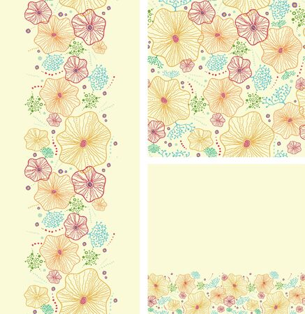 Set of seaweed plants seamless pattern and borders backgrounds Vector