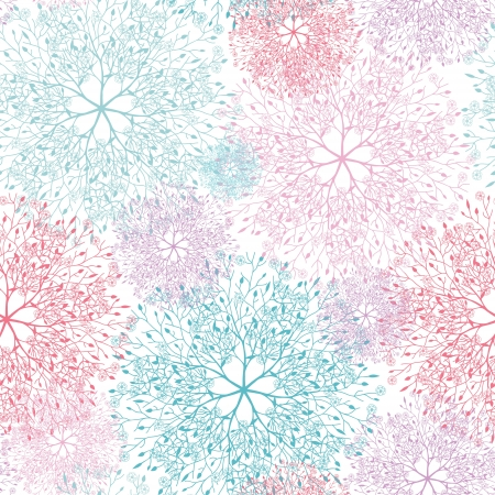 Colorful abstract tree vignettes seamless pattern background