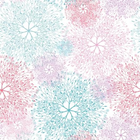 Kleurrijke abstracte boom vignetten naadloze patroon achtergrond