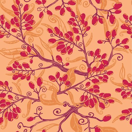 Fall buckthorn berries seamless pattern background Vector