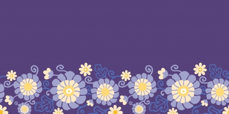 Purple flowers and leaves horizontal seamless pattern Vector