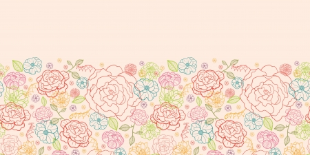 Pink roses horizontal seamless pattern background border Vector