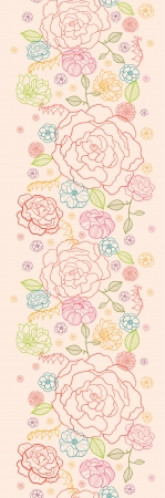 Pink roses vertical seamless pattern background border Stock Vector - 16820407